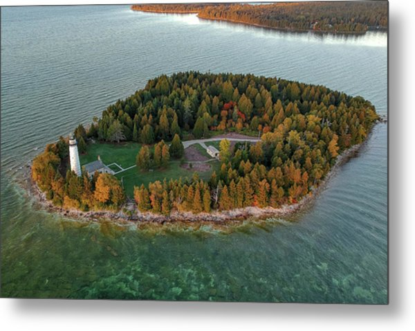 Metal Print featuring the photograph Cana Island Aerial by Adam Romanowicz