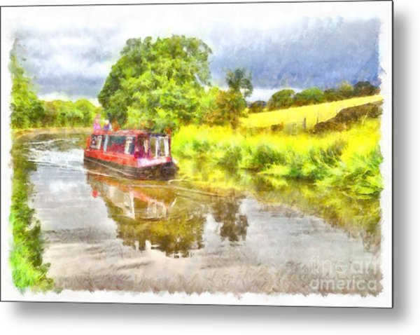 Canal Boat On The Leeds To Liverpool Canal Metal Print