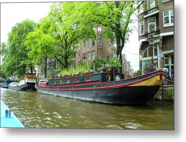Canal Boats In Amsterdam - 2 Metal Print