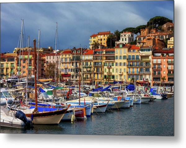 Cannes City View From Harbour To Old Town Metal Print