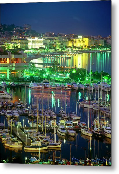 Cannes Cityscape, Les Croisette And The Metal Print