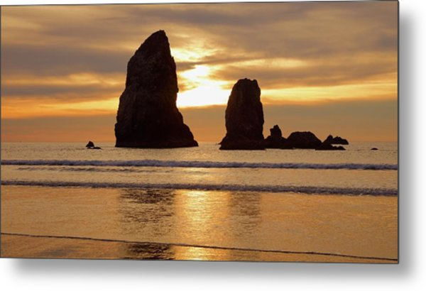 Cannon Beach November Sunset Metal Print