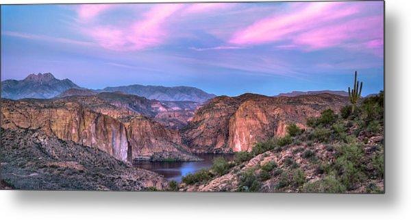 Canyon Lake And Four Peaks Sunset Panorama Metal Print