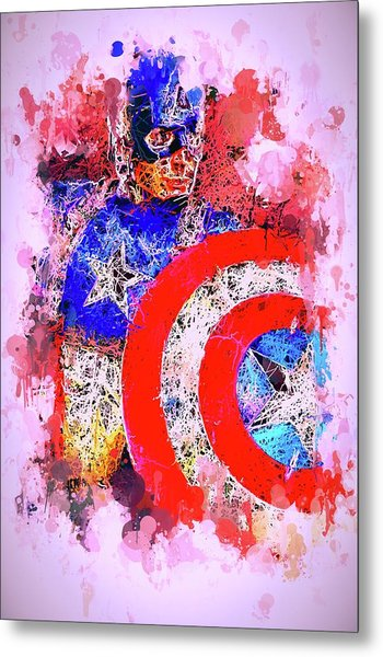 Captain America Watercolor Metal Print