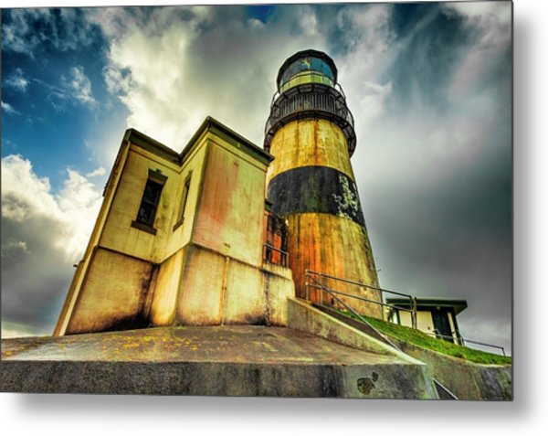 Cape Disappointment Lighthouse Under Dramatic Skies Metal Print