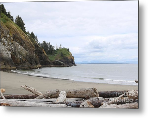 Cape Disappointment With Lighthouse And Beach Metal Print