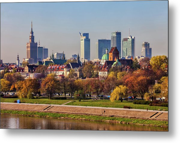 Capital City Of Warsaw Cityscape In Spring Metal Print
