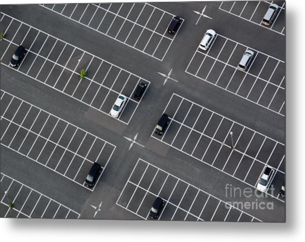 Car Park Seen From Above With Many Metal Print