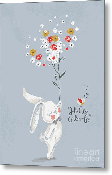 Card With Cute Rabbitbunny With A Metal Print
