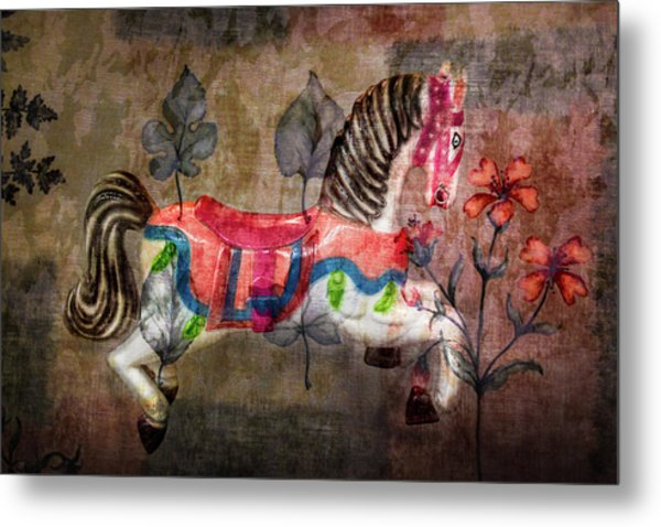 Metal Print featuring the photograph Carousel Prancing Dream by Michael Arend