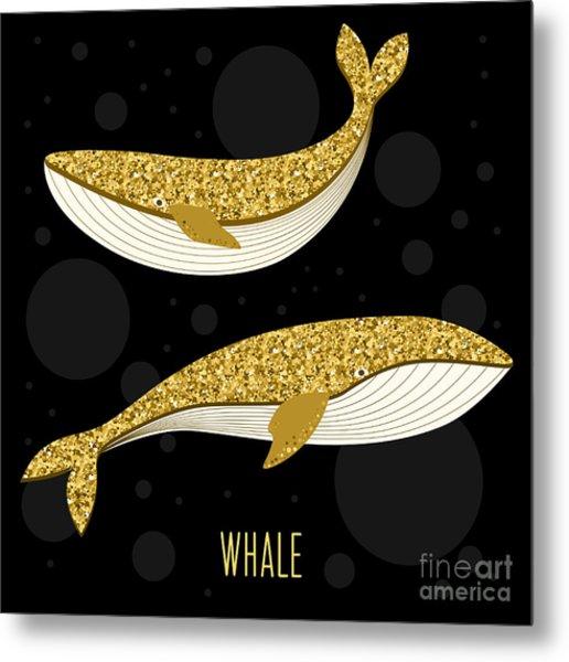 Cartoon Abstract Whale Set. Golden Metal Print