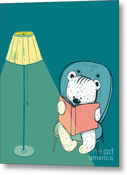 Cartoon Baby Bear Reading A Book. Hand Metal Print by Popmarleo