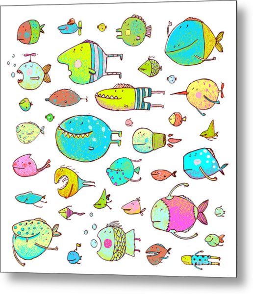 Cartoon Bizarre Fish Collection For Metal Print