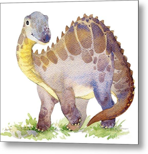 Cartoon Dinosaur Watercolor Metal Print