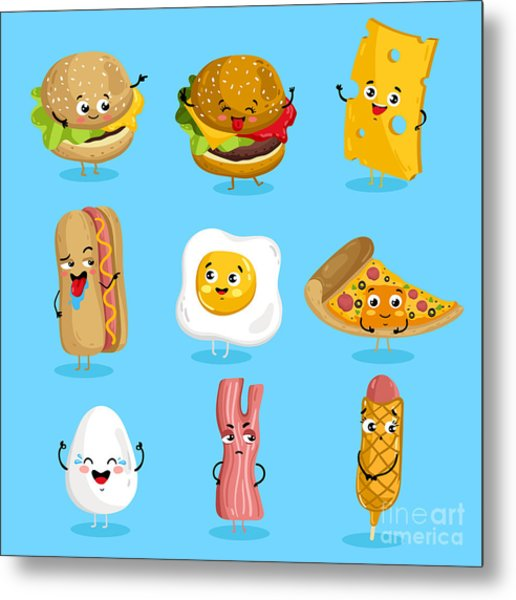 Cartoon Funny Fast Foods Characters Metal Print