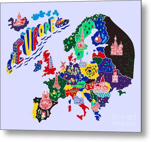 Cartoon  Map Of Europe. Travels Metal Print