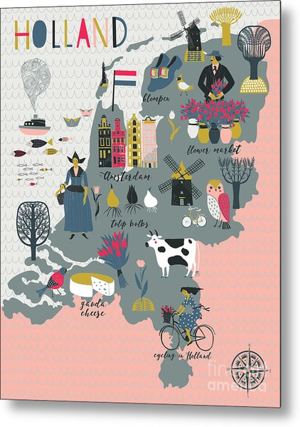 Cartoon Map Of Holland With Legend Icons Metal Print by Lavandaart