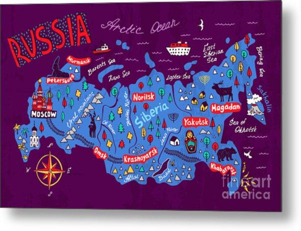 Cartoon Map Of Russia. Travels Metal Print