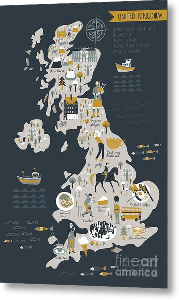 Cartoon Map Of United Kingdom With Metal Print