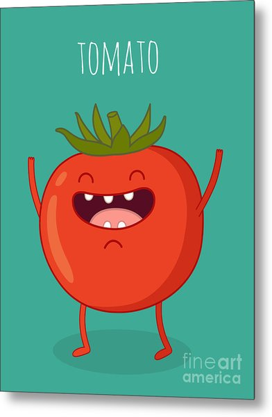 Cartoon Tomato With Eyes And Smiling Metal Print