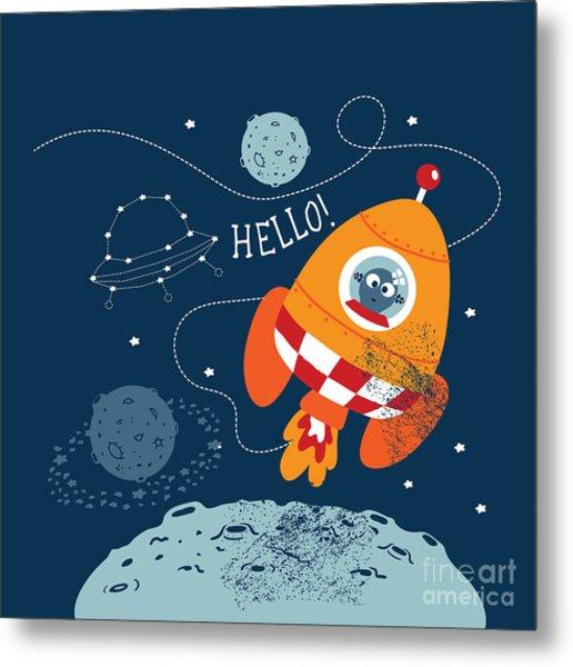 Cartoon Vector Illustration Of Space Metal Print