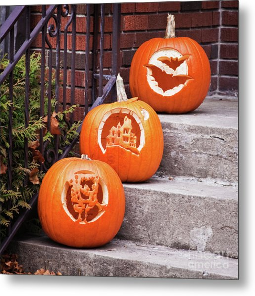 Metal Print featuring the photograph Carved Pumpkins For Autumn Holidays by Tatiana Travelways