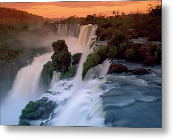 Cascades Of The Iguacu Falls, The Metal Print by Thomas Marent/ Minden Pictures