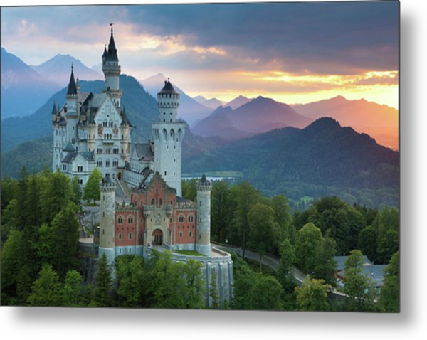 Castle Neuschwanstein With A Dramatic Metal Print