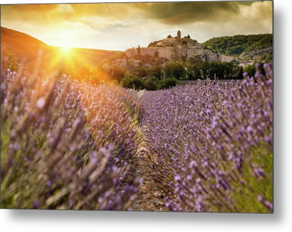 Castle Overlooking Field Of Flowers Metal Print by Cultura Rm Exclusive/walter Zerla