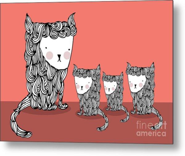 Cat And Kittens Illustrationvector Metal Print by Lyeyee