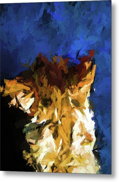 Cat And The Cobalt Blue Wall Metal Print