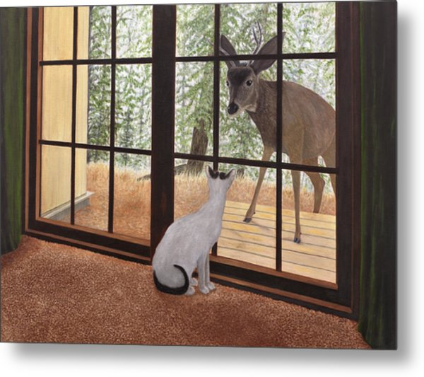 Cat Meets Deer Metal Print