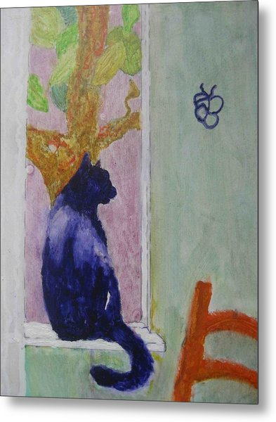 Metal Print featuring the painting cat named Seamus by AJ Brown