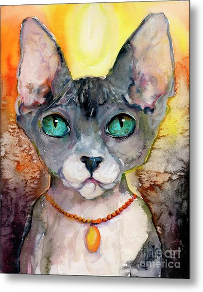 Metal Print featuring the painting Cat Portrait My Name Is Adorable by Ginette Callaway