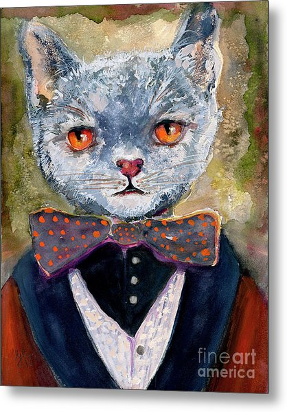 Metal Print featuring the painting Cat Portrait Einstein by Ginette Callaway