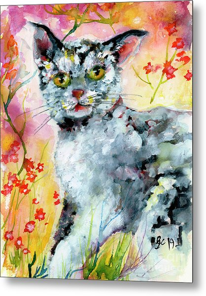 Metal Print featuring the painting Cat Portrait My Name Is Hobo by Ginette Callaway