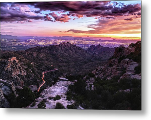 Catalina Highway Sunset And Tucson City Lights Metal Print