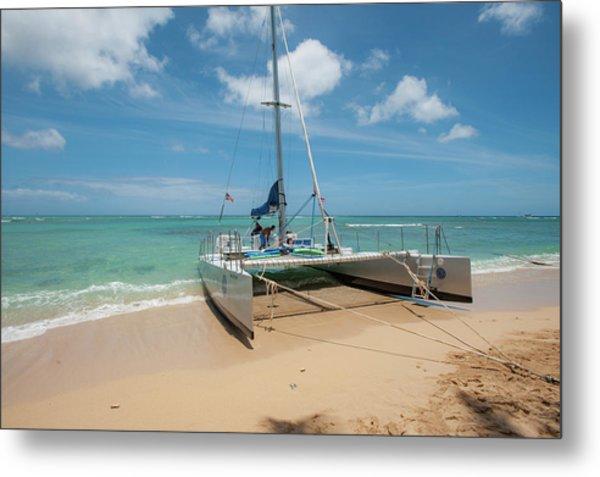 Catamaran On Waikiki Metal Print