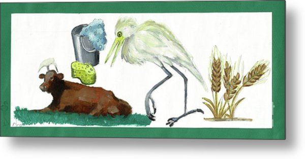 Cattle Egret Metal Print by Sigalit Aharoni