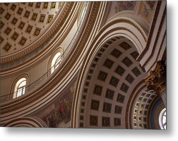 Ceiling Of Mosta Church,  Mosta Metal Print by Latitudestock - Emma Durnford