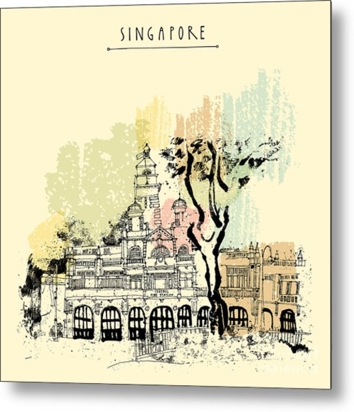 Central Fire Station In Singapore Metal Print