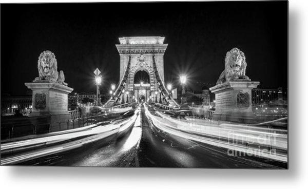 Chain Bridge At Night In Budapest Metal Print