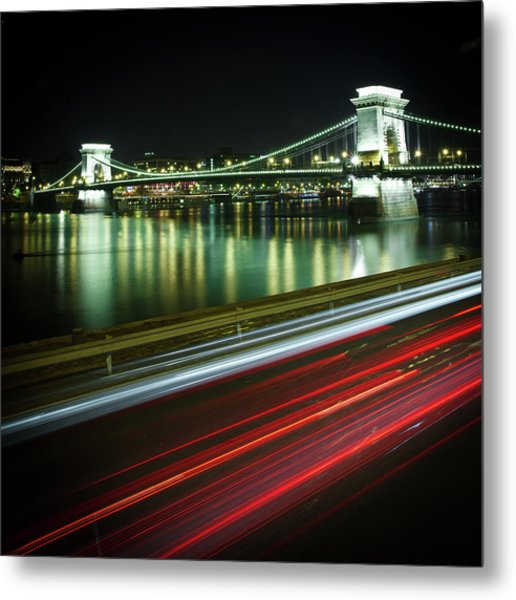 Chain Bridge At Night In Budapest Metal Print by Mark Whitaker