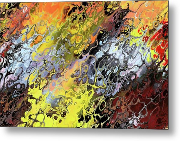 Chaos Abstraction Orange Metal Print