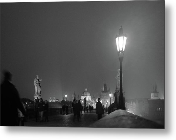 Metal Print featuring the photograph Charles Bridge At Night by Mark Duehmig