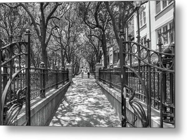 Charleston Riverfront Park Black And White Metal Print