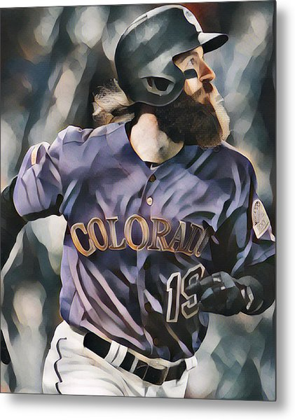Charlie Blackmon Colorado Rockies Abstract Art 1 Metal Print