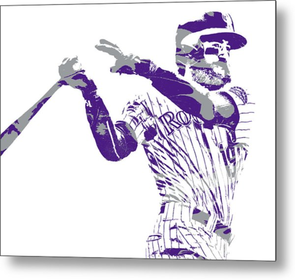 Charlie Blackmon Colorado Rockies Pixel Art  20 Metal Print