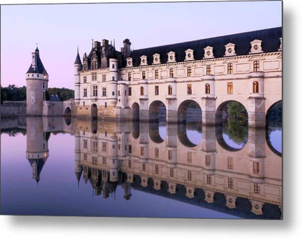 Chateau Chenonceau With Cher River Metal Print