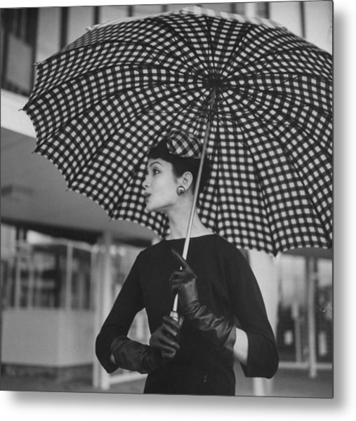 Checked Parasol, Used At The Racetrack Metal Print by Nina Leen
